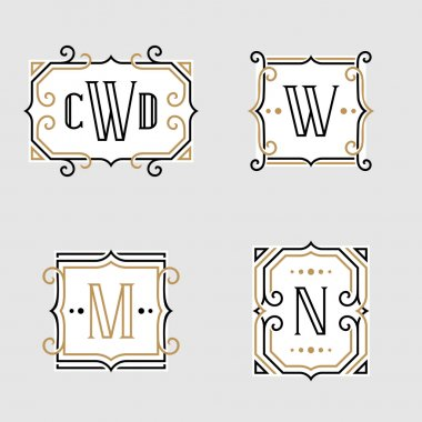 The set of stylish retro monogram emblem templates