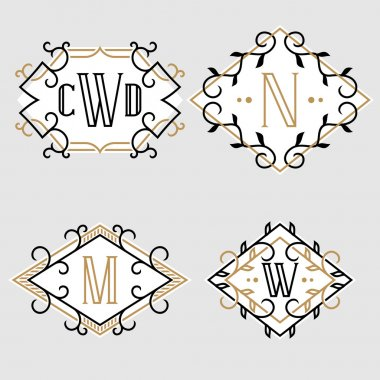 The set of elegant vintage monogram emblem templates