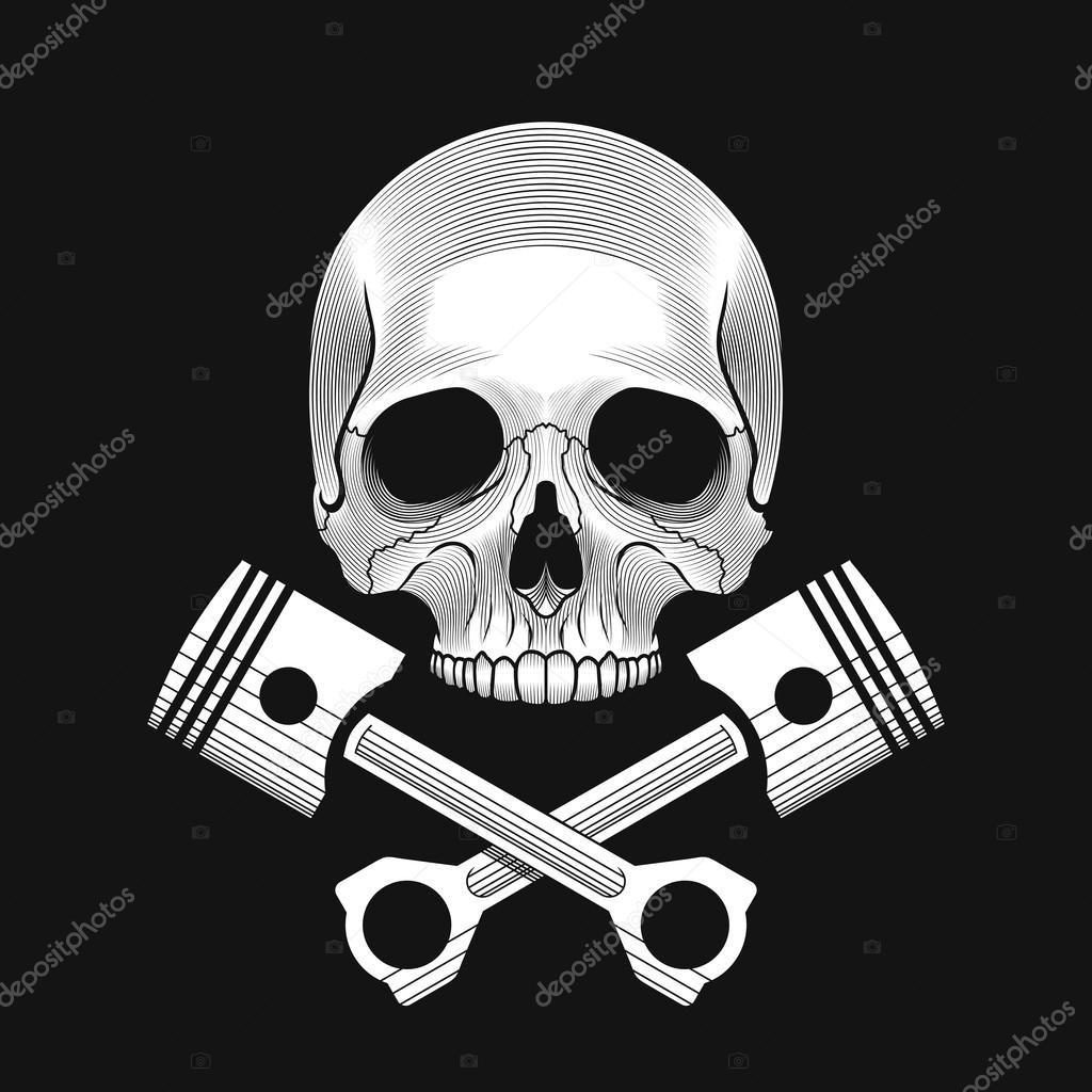 ba8d95f94adc6 The skull and crossed car engine pistons — Stock Vector © Epifantsev ...