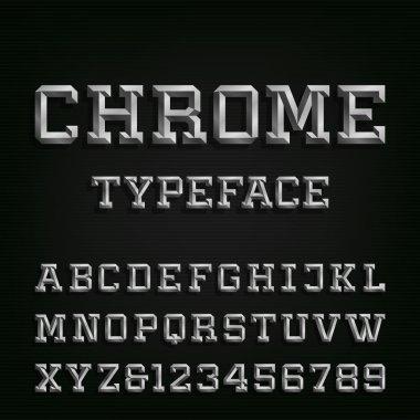 Beveled Chrome Alphabet Vector Font.