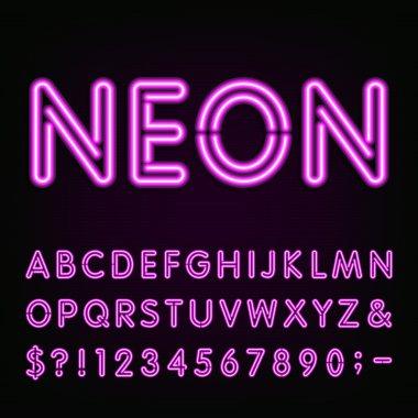 Purple Neon Light Alphabet Font.