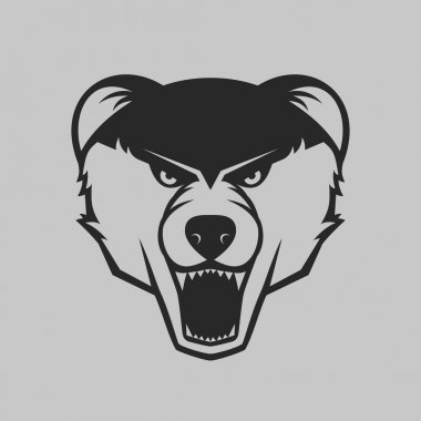 Bear head logo or icon in one color.