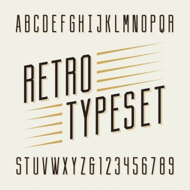 Retro typeset. Letters and numbers.