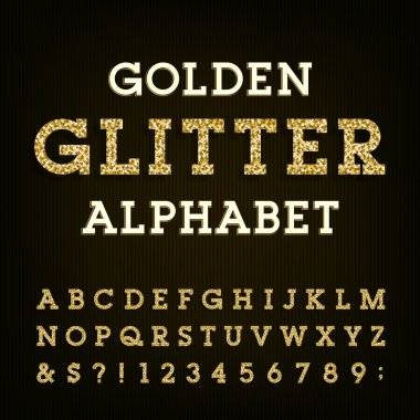 Golden glitter alphabet vector font.
