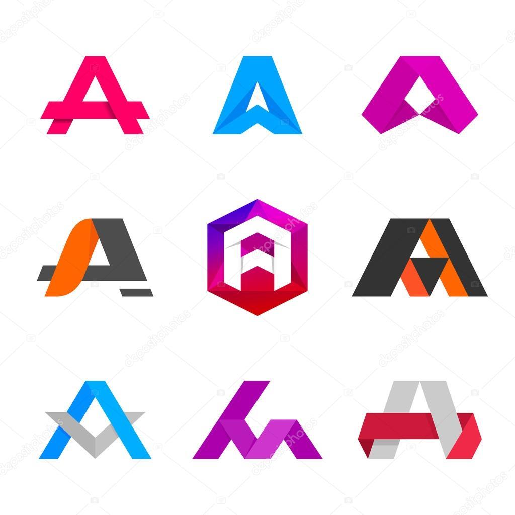 Elementos de plantilla de diseño de icono de letra A logo — Archivo ...