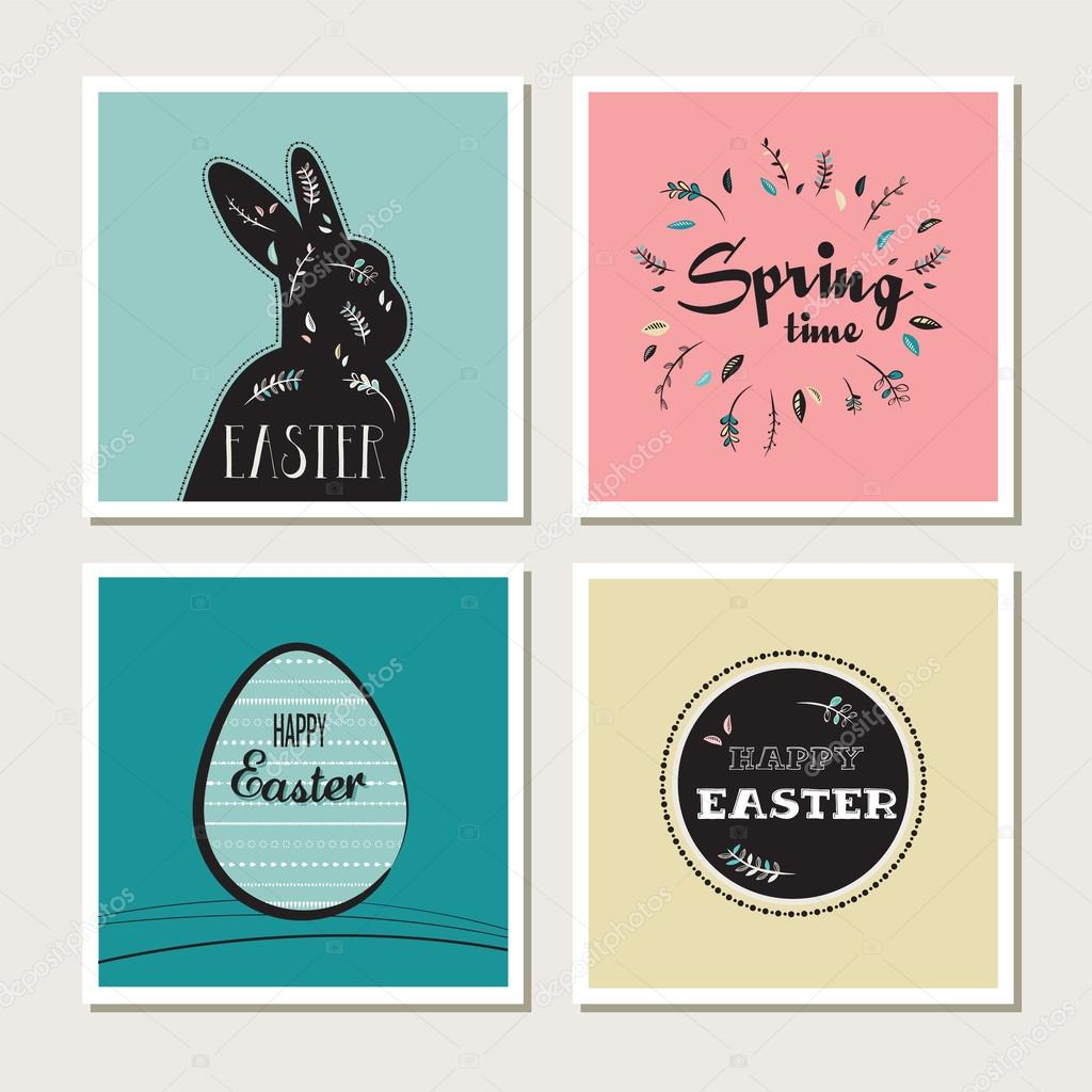 Happy Easter - set of stylish cards or invitations