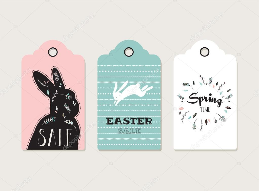 Easter tags, labels with cute bunny and flowers