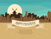 Fotografie Happy Passover greeting card design with Jerusalem city skyline. Vector illustration