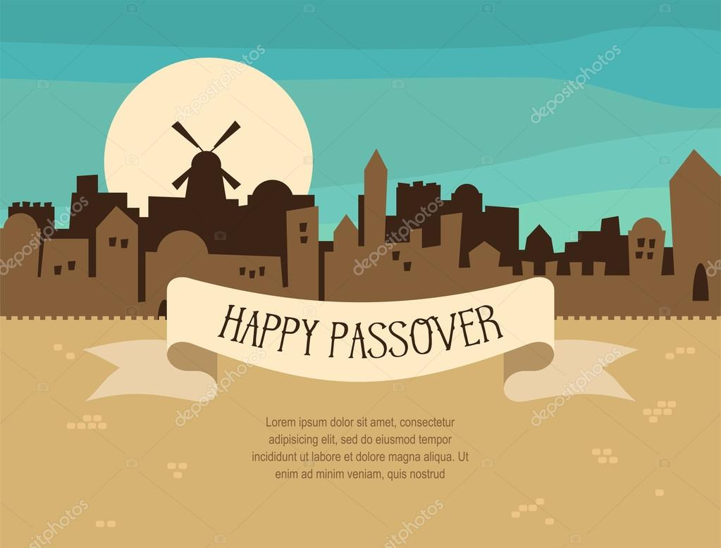 Happy passover greeting card design with jerusalem city skyline happy passover greeting card design with jerusalem city skyline vector illustration stock vector m4hsunfo