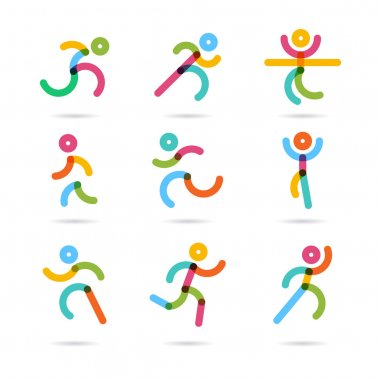 Running marathon colorful people icons and symbols