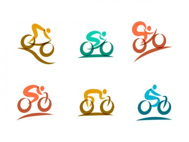 Colorful cycling and bicycles icons