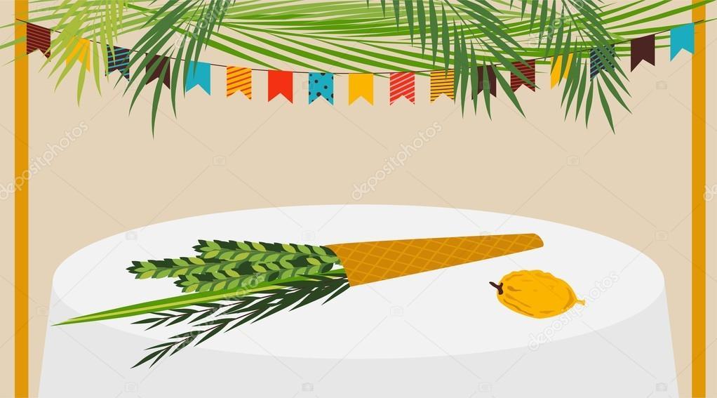 Ilustración de vector de una Sucá decorado con ornamentos para el ...