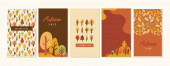 Autumn landscapes, vertical banners and wallpaper for social media stories. Vector illustration in flat simple style - design templates with place for text. fall greeting cards and poster. vector