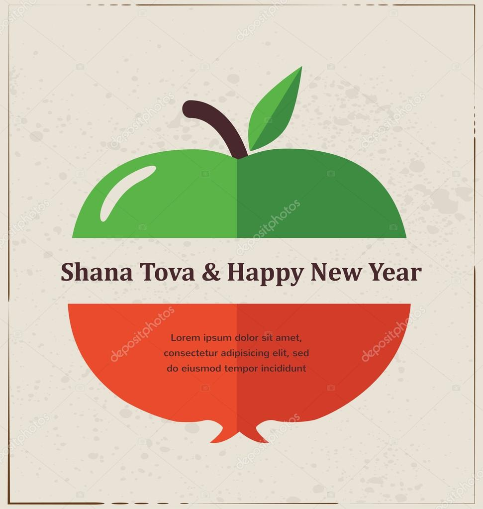Greeting card for jewish new year rosh hashana with traditional greeting card for jewish new year rosh hashana with traditional fruits stock vector kristyandbryce Choice Image