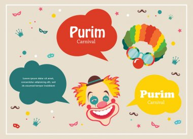 Card for Jewish holiday Purim with clown and speech bubbles