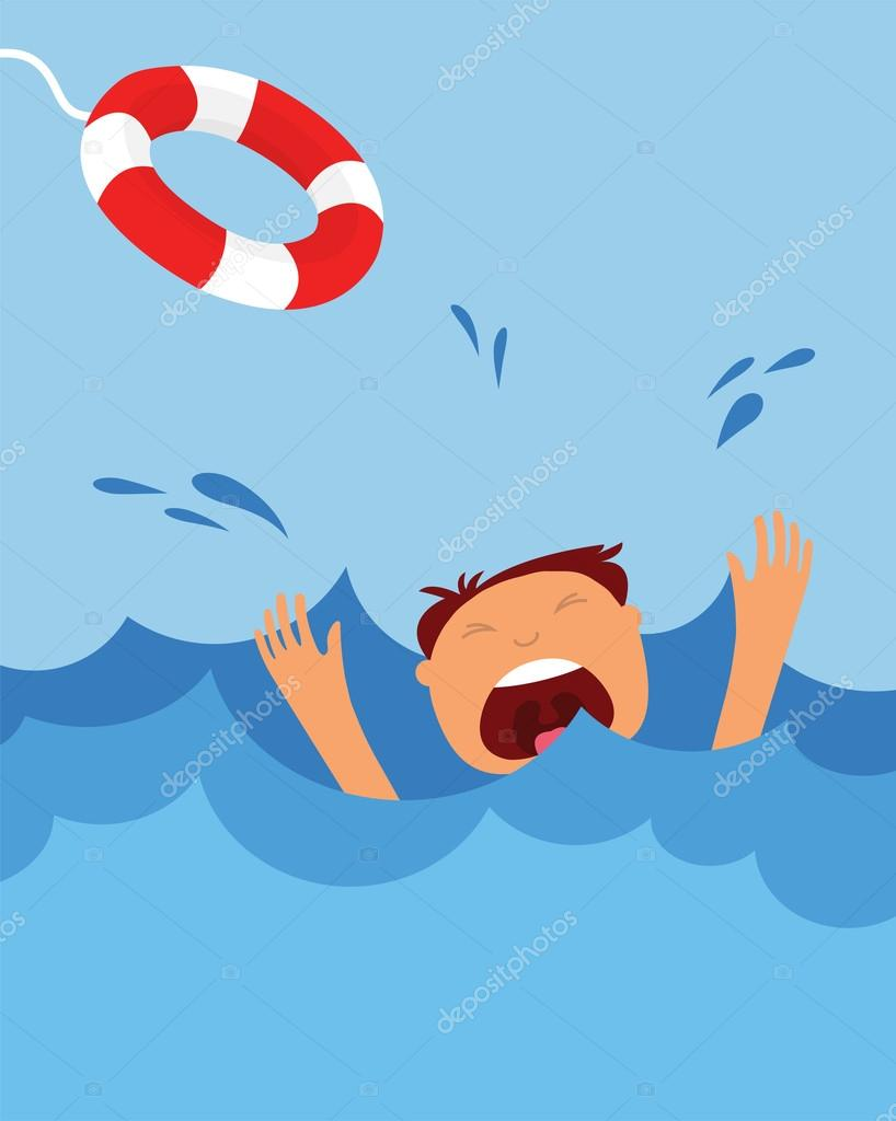 drowning man screaming for help. summer danger