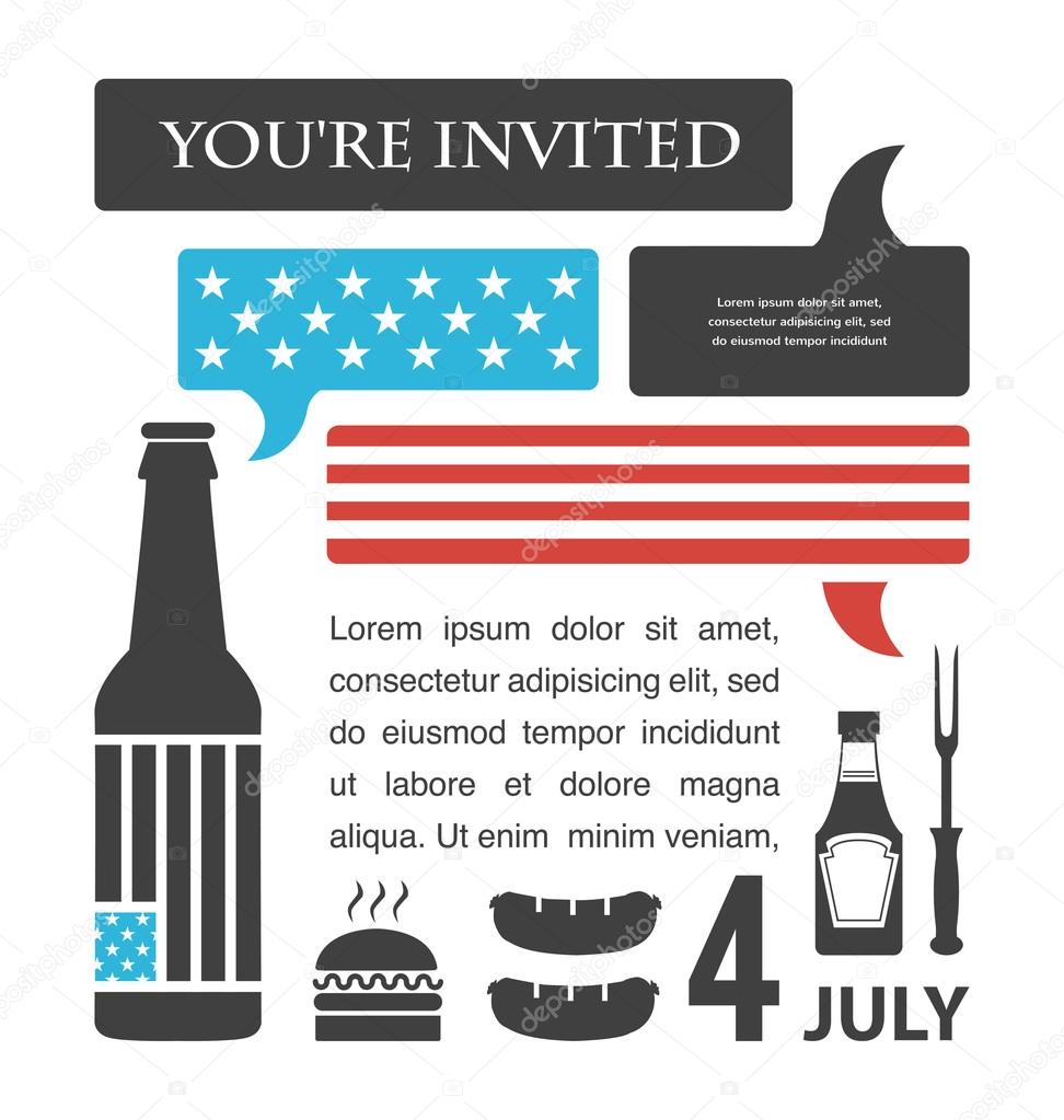 bbq party invitation united states flag in speech bubble july 4th