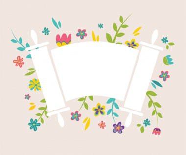 Jewish  Torah surrounding with fresh vintage flowers stock vector
