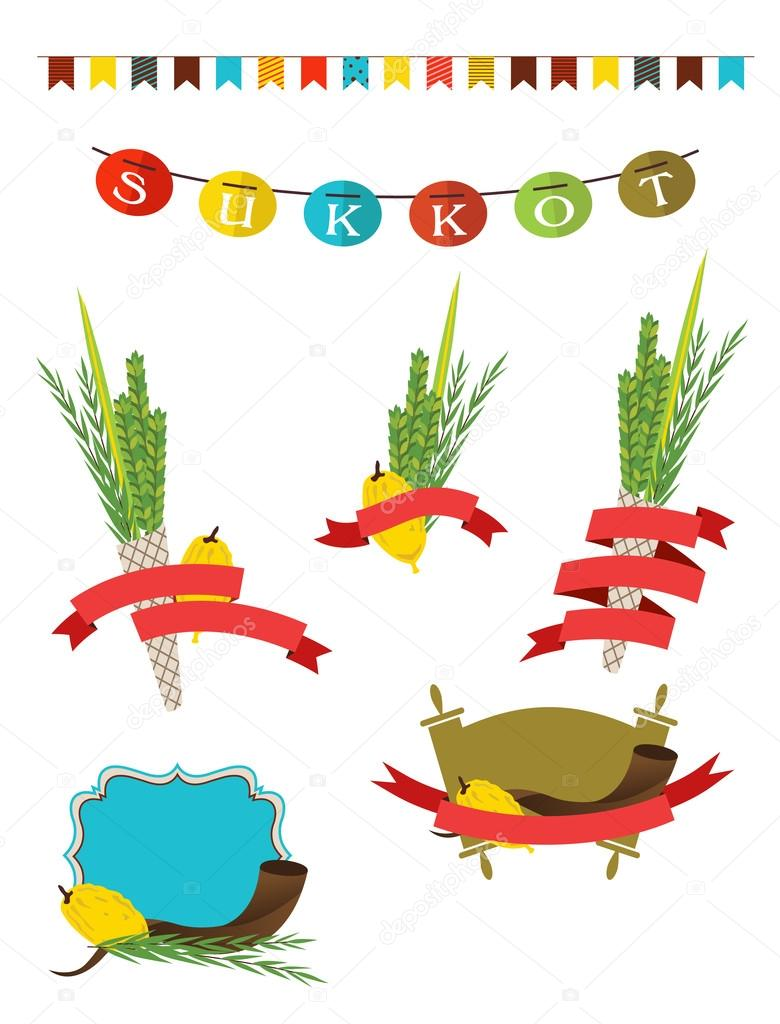 sukkot collection -  four symbols of Jewish holiday Sukkot with sukkah decorations