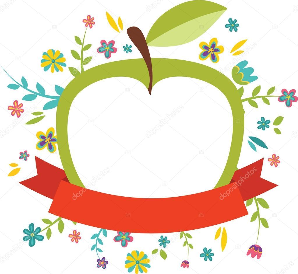fresh spring flowers around an green apple