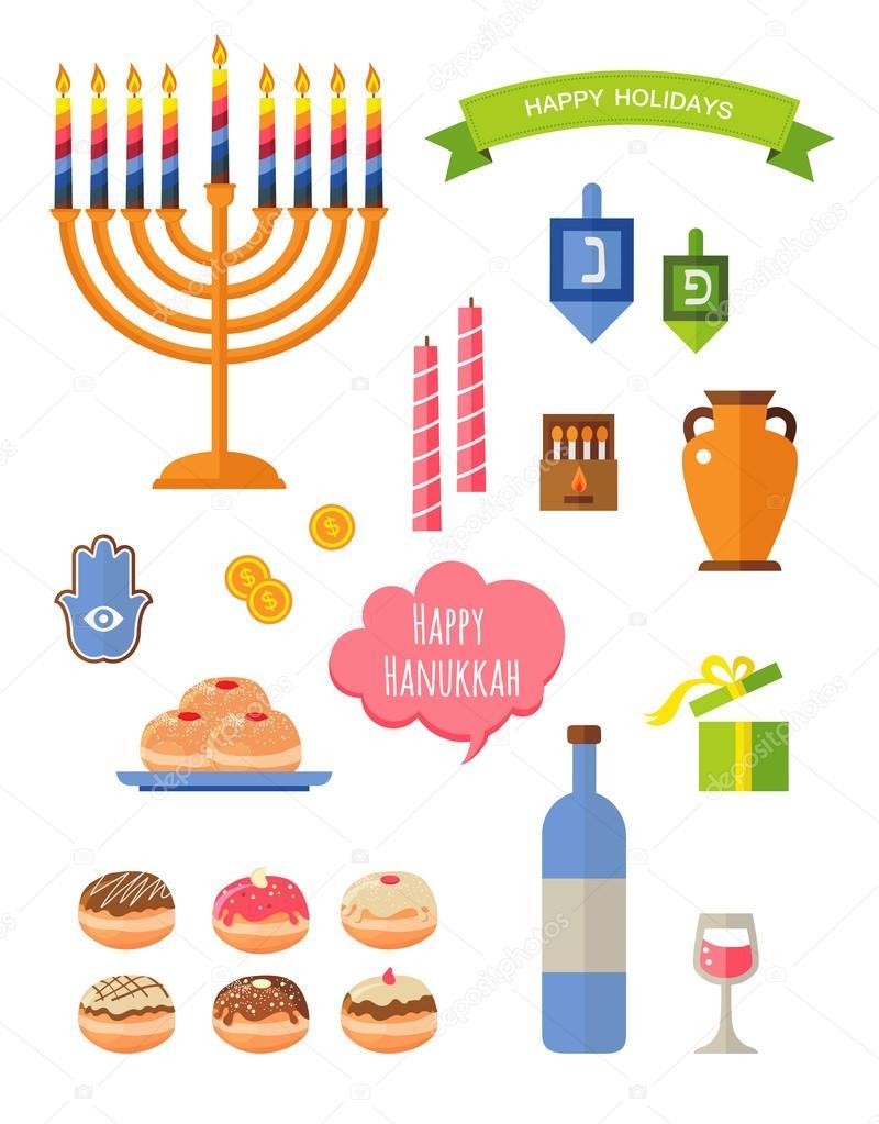 Uncategorized Chanukah Symbols various symbols and items of hanukkah celebration flat icons set isolated vector illustration hebrew letters