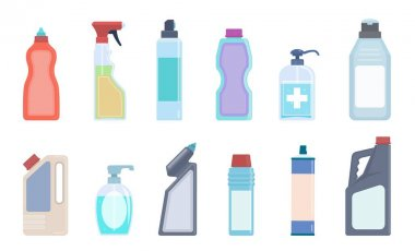 Detergent bottles. Cleaning supplies in plastic containers, bleach and household chemicals bottle collection, sanitary washing products for kitchen, toilet and home vector isolated flat colorful set icon