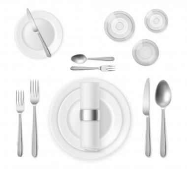 """Картина, постер, плакат, фотообои """"вид сверху на стол. реалистичные 3d серебряные столовые приборы и белые тарелки, ресторан банкетный сервис, серебряные позиции, полный ужин. векторная реалистичная иллюстрация"""", артикул 442975638"""