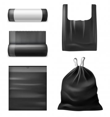 Realistic black trash bags. Kitchen garbage plastic sacks, bag with handles, collapsed and expanded, roll with blank empty label, filled with household waste vector 3d isolated on white background set icon