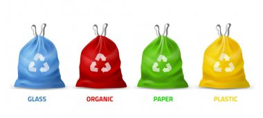 Trash bags colors. Realistic packages with handles for separate garbage collection, different colors and recycling sign, biodegradable plastic, eco care. Vector 3d isolated on white background set icon