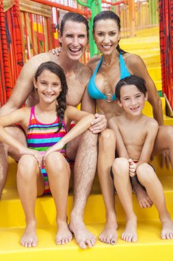 Mother Father Son Daughter Child Family at Water Park
