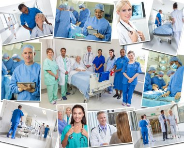Senior Patients Doctors & Nurses in Hospital