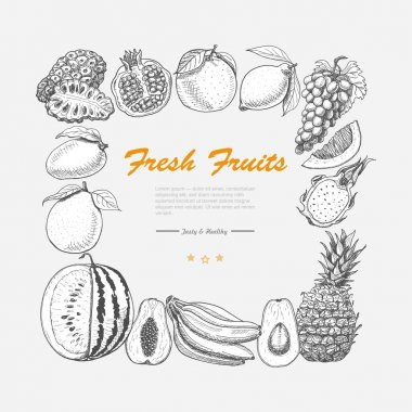 Vector square frame of exotic fruits