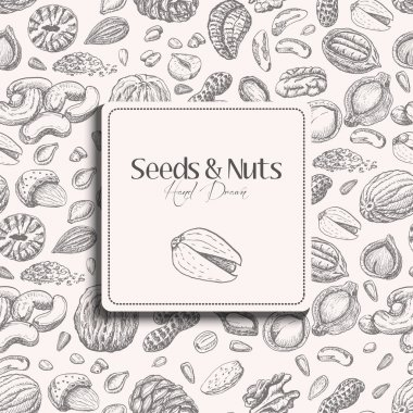 Seamless pattern with seeds and nuts on a white background