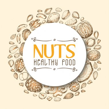 Vector background with nuts arranged in a circle