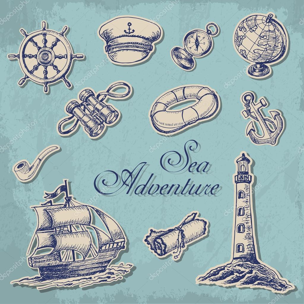 coleção de adesivos com temas marítimos em estilo de desenho vetor