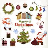 Photo Set of Christmas stickers Santa Claus, snowman,  tree and gifts