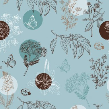 Seamless pattern with herbs