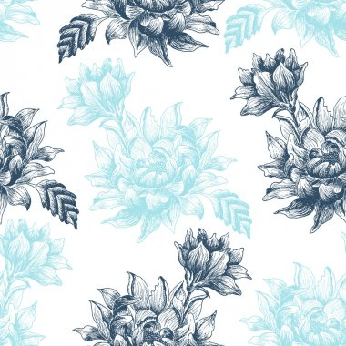 Seamless pattern with blue  flowers on a white background