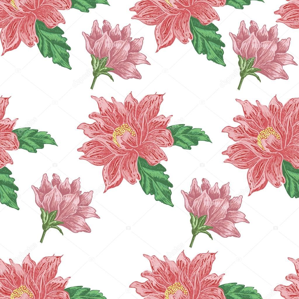 Seamless pattern with red flowers on a white background