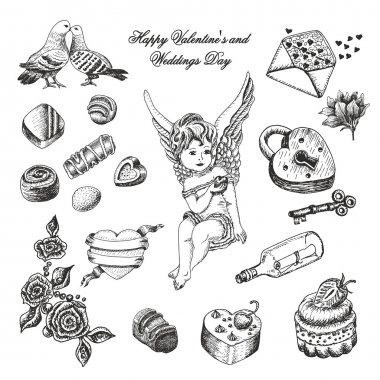 Vector set  of hand drawn vintage valentine's and wedding day collection. Vector illustration for your design clip art vector