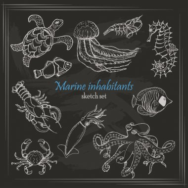 Vector collection of sea inhabitants in sketch style on dark background