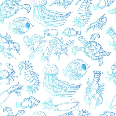 Seamless pattern with sea inhabitants on a white background