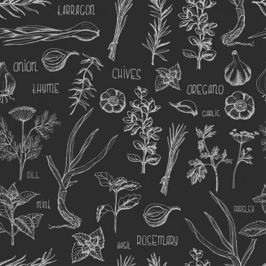 Seamless pattern with herbs and spices on a dark background