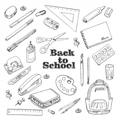 Back to school - set of objects in sketch style