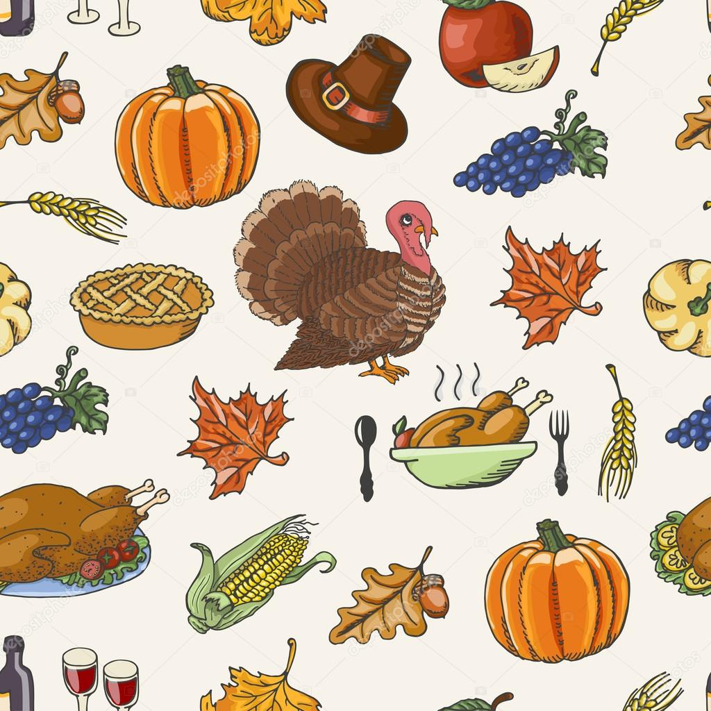 Thanksgiving seamless pattern  on white background