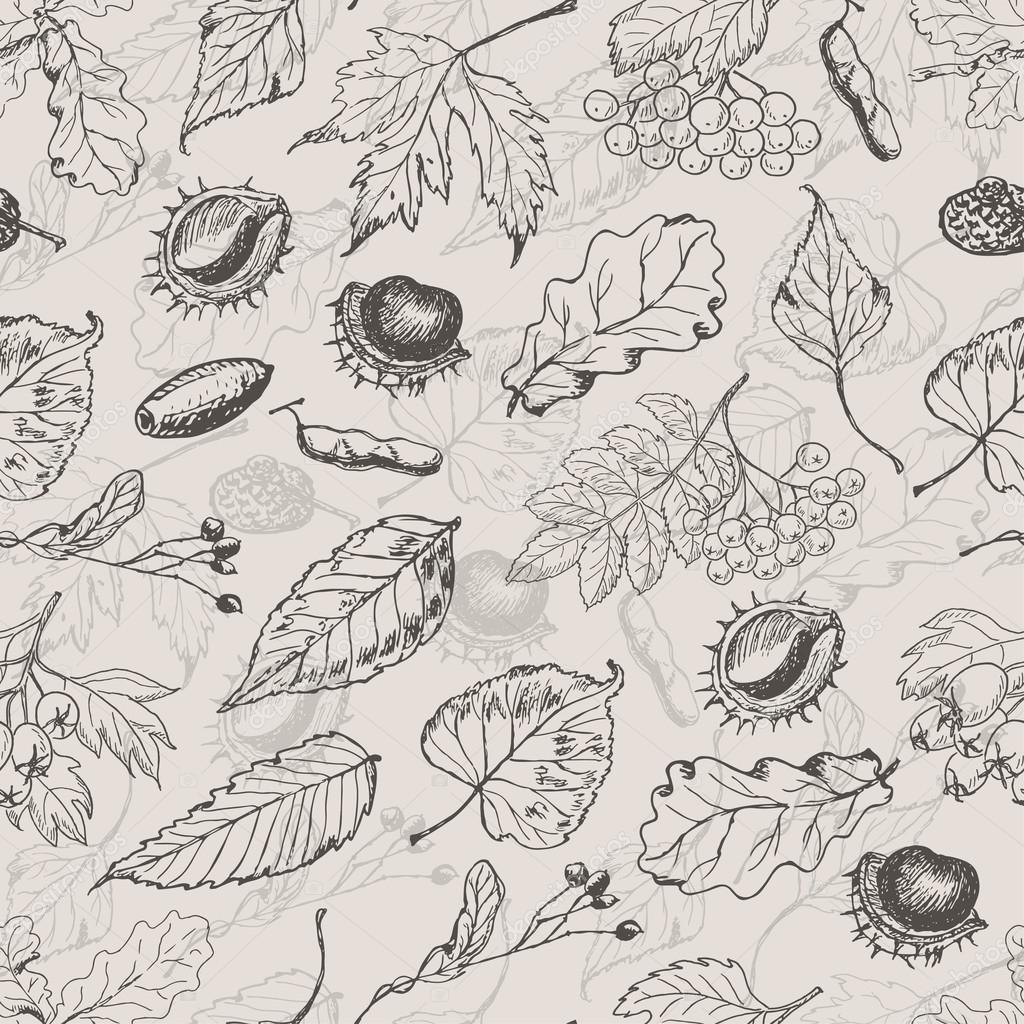 Autumn seamless pattern with leaves and seeds