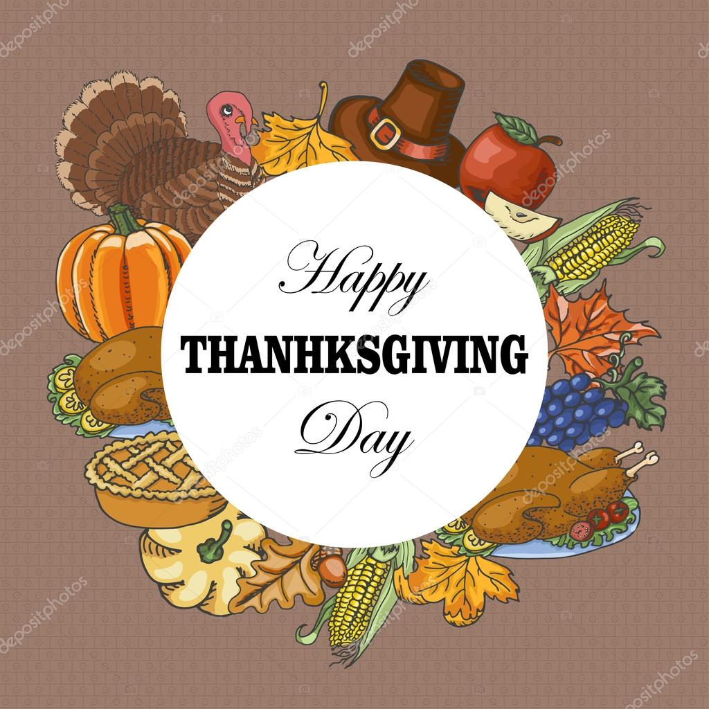 Vector background with elements of Thanksgiving Day