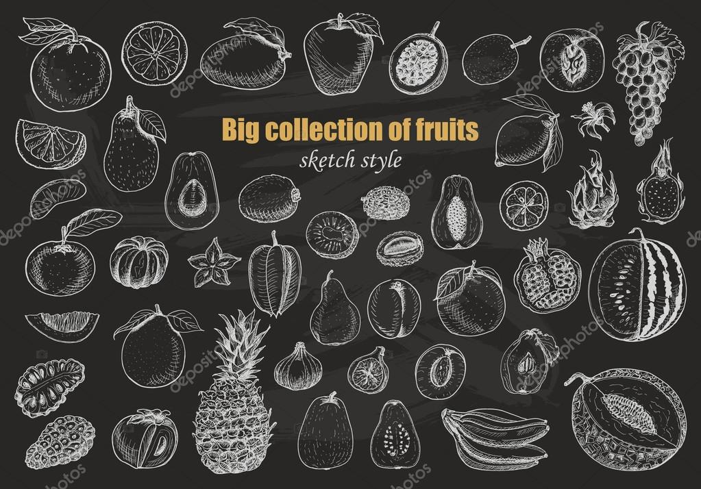 Big collection of fruits on dark background. Vector  illustration for your design clipart vector