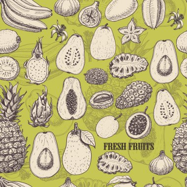 Seamless pattern with tropical fruits on light green background