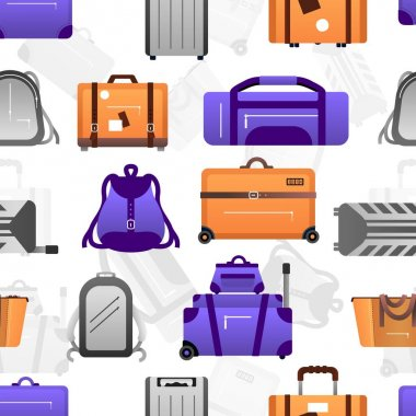 Suitcase pattern. Seamless texture of travel luggage and journey backpack. Baggage for adventure. Purple handbags and rucksacks, orange valises on wheels. Vector decorative background
